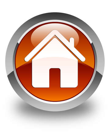construction companies: Home icon glossy brown round button Stock Photo