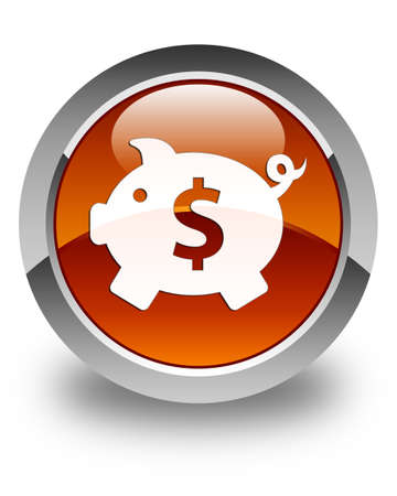 economical: Piggy bank (dollar sign) icon glossy brown round button