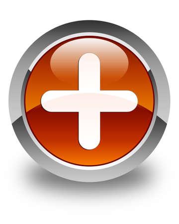 plus icon: Plus icon glossy brown round button