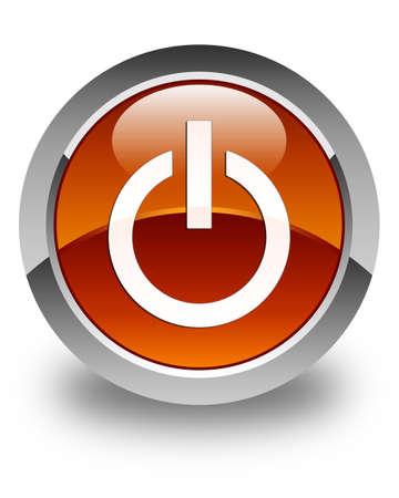shutdown: Power icon glossy brown round button