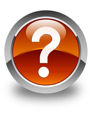 issue: Question mark icon glossy brown round button