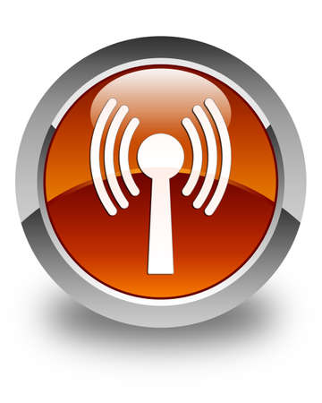 wlan: Wlan network icon glossy brown round button
