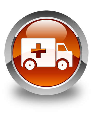urgent care: Ambulance icon glossy brown round button Stock Photo