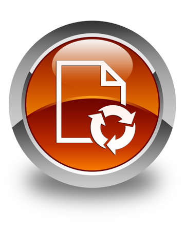 round button: Document process icon glossy brown round button Stock Photo