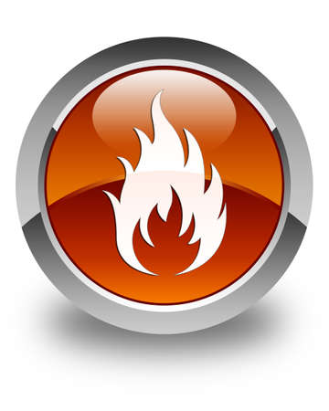 wildfire: Fire icon glossy brown round button Stock Photo