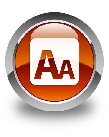 box size: Font size box icon glossy brown round button
