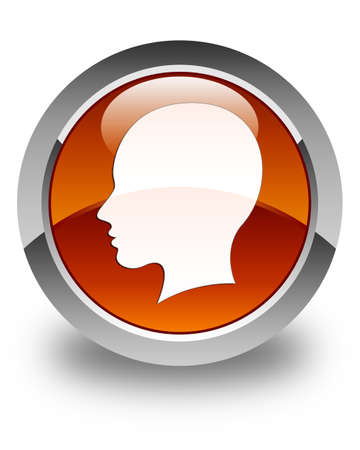 woman side view: Head (female face) icon glossy brown round button Stock Photo