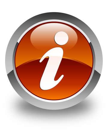 inquiry: Info icon glossy brown round button Stock Photo
