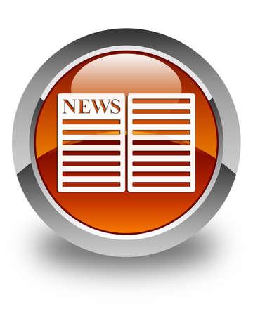 newspaper icon: Newspaper icon glossy brown round button