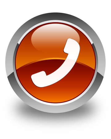 phone button: Phone icon glossy brown round button