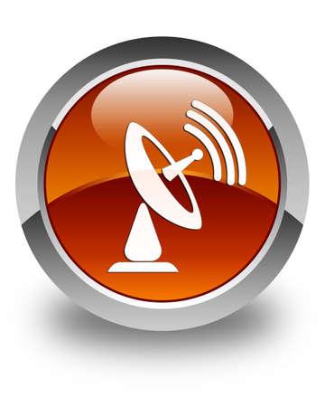 tv tower: Satellite dish icon glossy brown round button