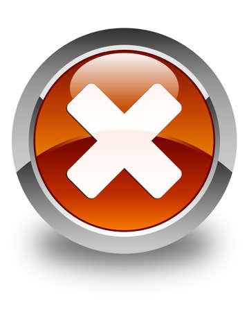 abort: Cancel icon glossy brown round button