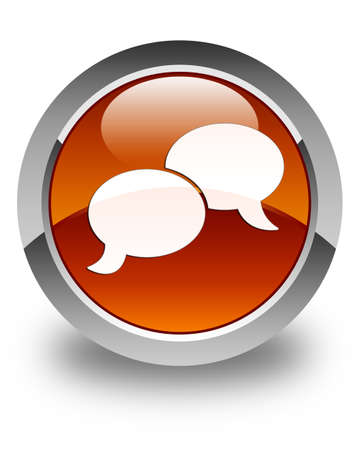 chat bubble icon: Chat bubble icon glossy brown round button