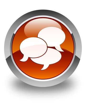 comments: Comments icon glossy brown round button Stock Photo