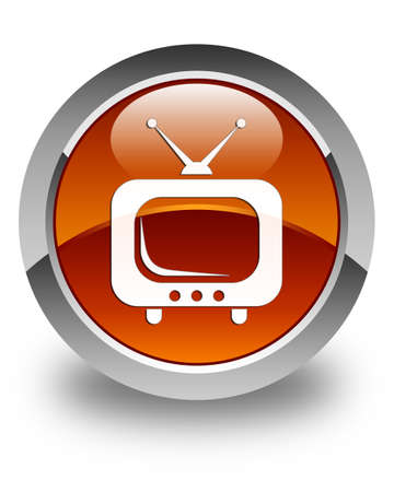 tv station: TV icon glossy brown round button