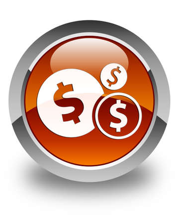 dollar sign icon: Finances (dollar sign) icon glossy brown round button Stock Photo