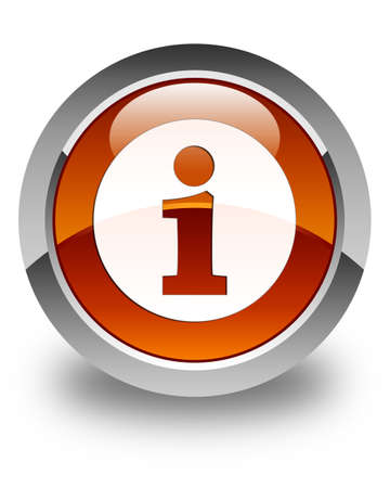 inform information: Info icon glossy brown round button Stock Photo