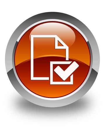 positive note: Checklist icon glossy brown round button