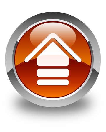 upload: Upload icon glossy brown round button