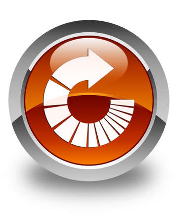 rotate: Rotate arrow icon glossy brown round button