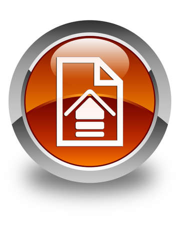 upload: Upload document icon glossy brown round button