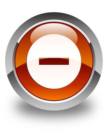 refuse: Cancel icon glossy brown round button