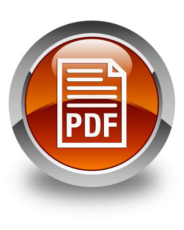 pdf: PDF document icon glossy brown round button