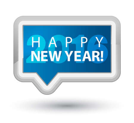 happy new year banner: Happy new year 2016 blue banner button Stock Photo