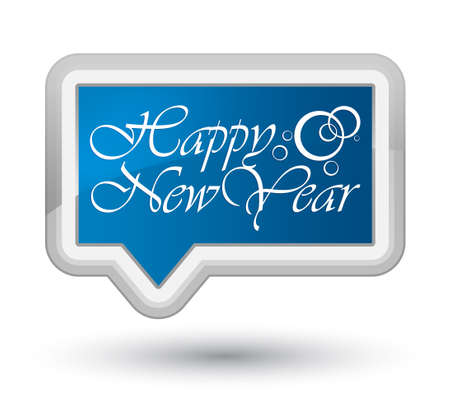happy new year banner: Happy new year blue banner button 2
