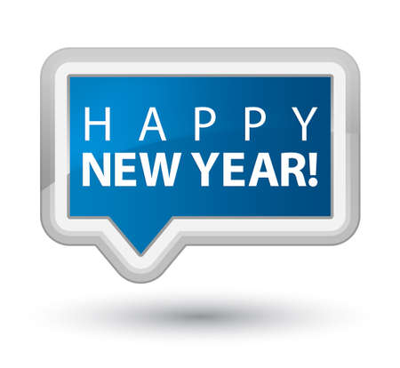 happy new year banner: Happy new year blue banner button Stock Photo