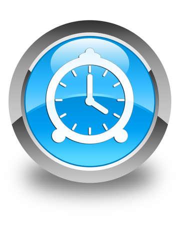 button: Alarm clock icon glossy cyan blue round button