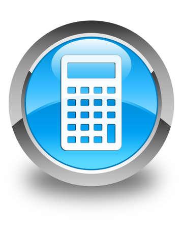 blue icon: Calculator icon glossy cyan blue round button