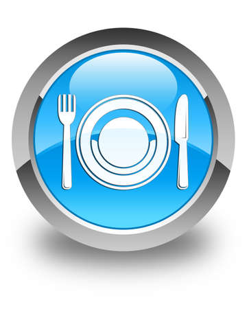 restaurant icons: Food plate icon glossy cyan blue round button