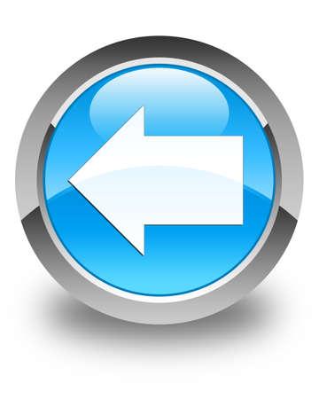 back arrow: Back arrow icon glossy cyan blue round button Stock Photo