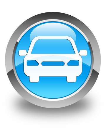 fare: Car icon glossy cyan blue round button