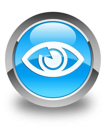 blue eye: Eye icon glossy cyan blue round button
