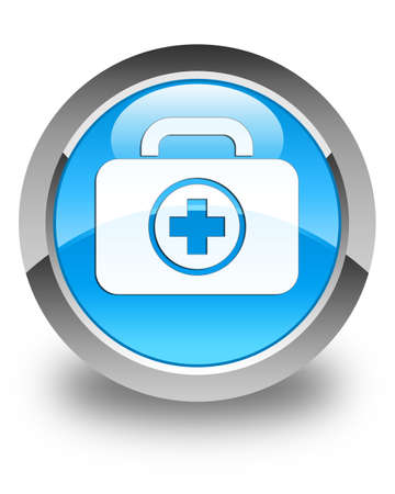 first aid kit: First aid kit icon glossy cyan blue round button