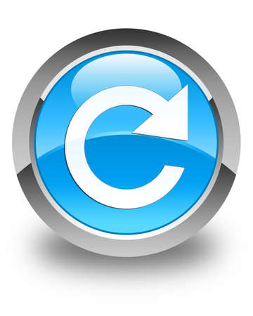 reply: Reply rotate icon glossy cyan blue round button