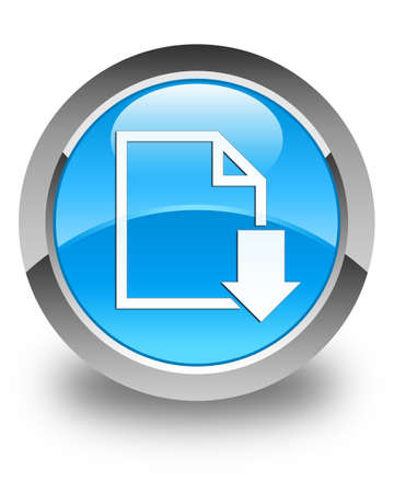page down: Download document icon glossy cyan blue round button