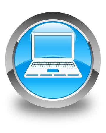 Ordinateur portable icône cyan brillant bouton rond bleu