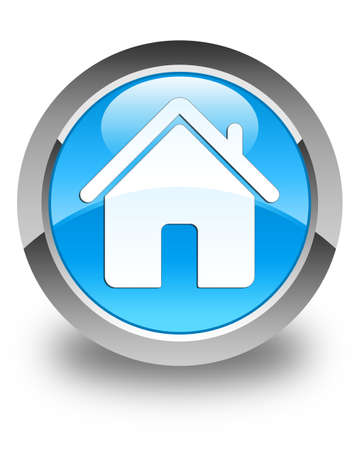 blue button: Home icon glossy cyan blue round button Stock Photo