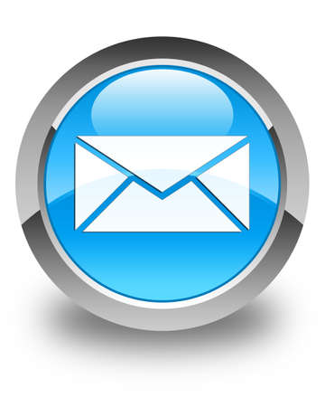 contact person: Email icon glossy cyan blue round button Stock Photo