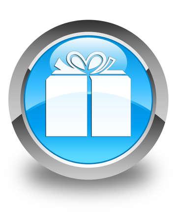 glassy: Gift box icon glossy cyan blue round button Stock Photo