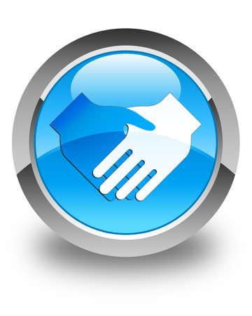 blue button: Handshake icon glossy cyan blue round button