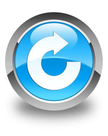 reply: Reply arrow icon glossy cyan blue round button