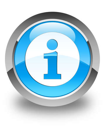 inquiry: Info icon glossy cyan blue round button Stock Photo