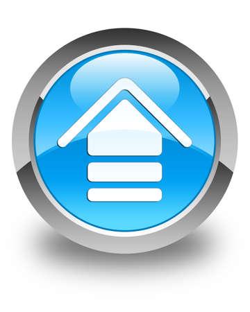 upload: Upload icon glossy cyan blue round button