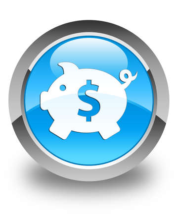blue circle: Piggy bank (dollar sign) icon glossy cyan blue round button