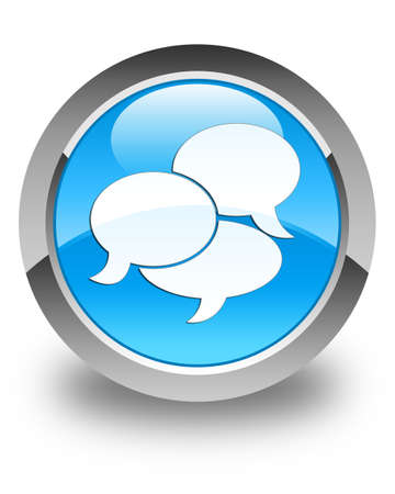 comments: Comments icon glossy cyan blue round button Stock Photo
