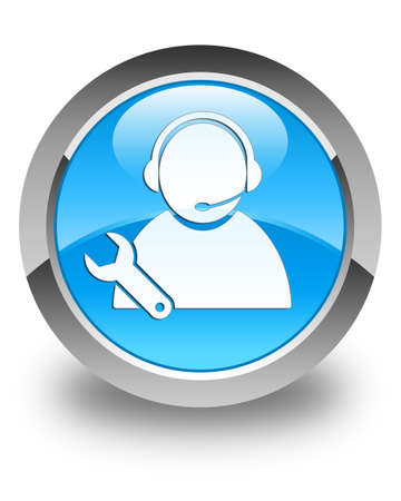 business support: Tech support icon glossy cyan blue round button